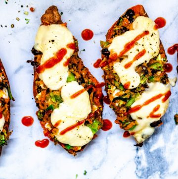 Stuffed sweet potato skinss