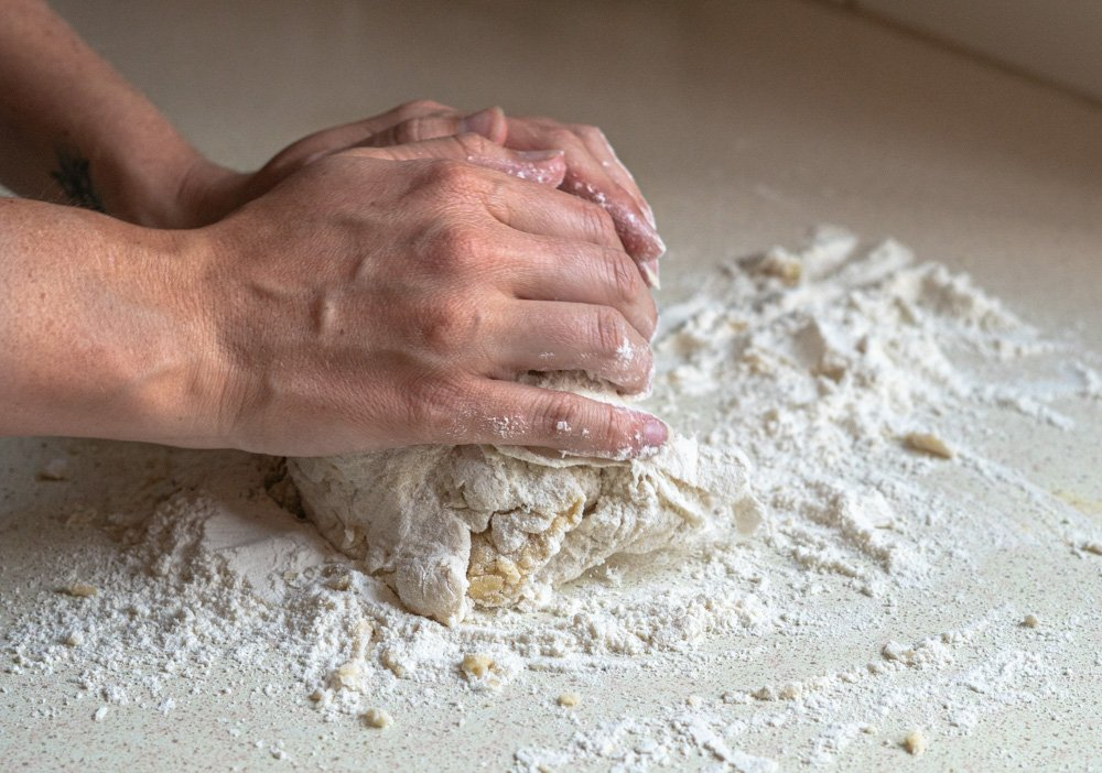 Imagine displaying the kneading of dough to make pita bread dough.