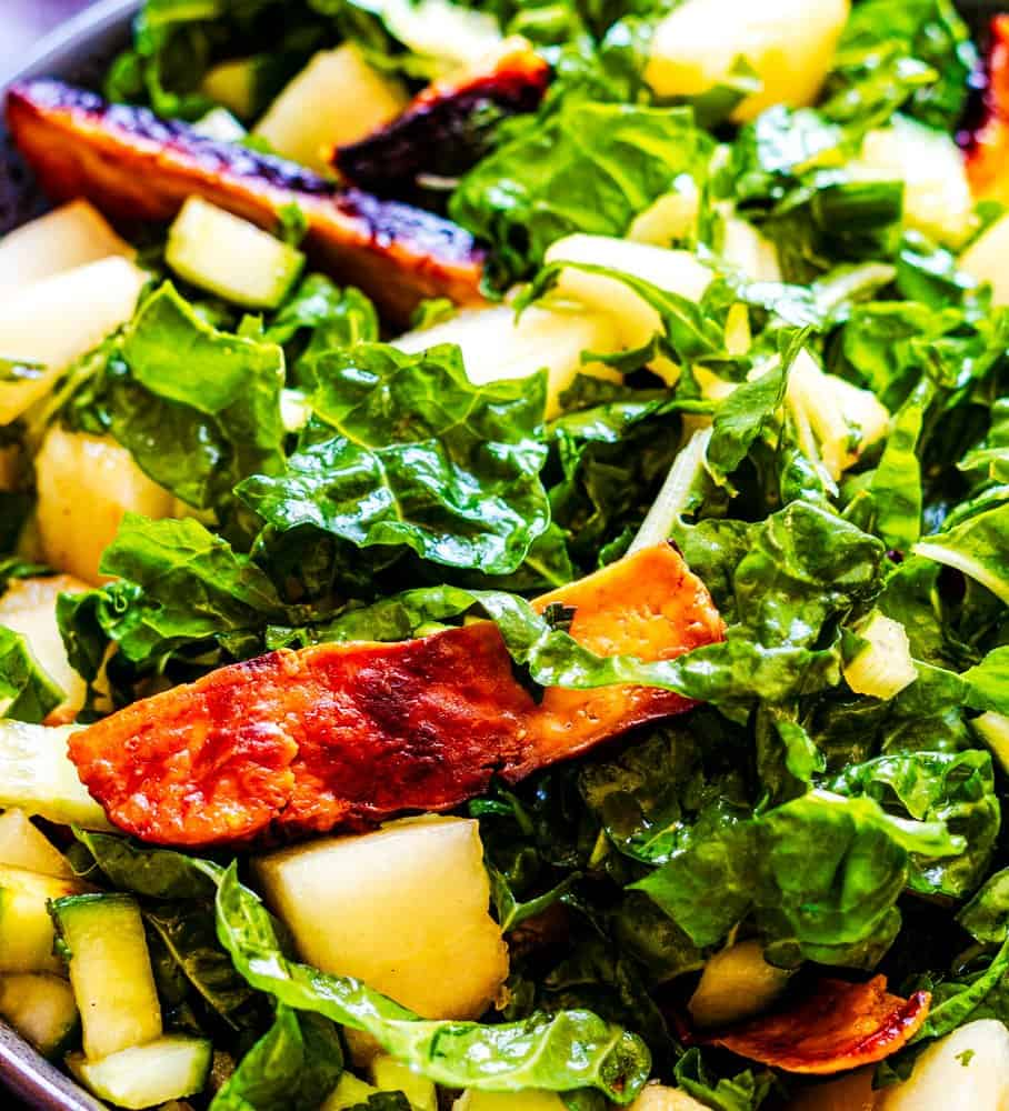 Halloumi and melon salad with silverbeet, cucumber and mint