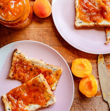 Apricot and lemon thyme jam on toast