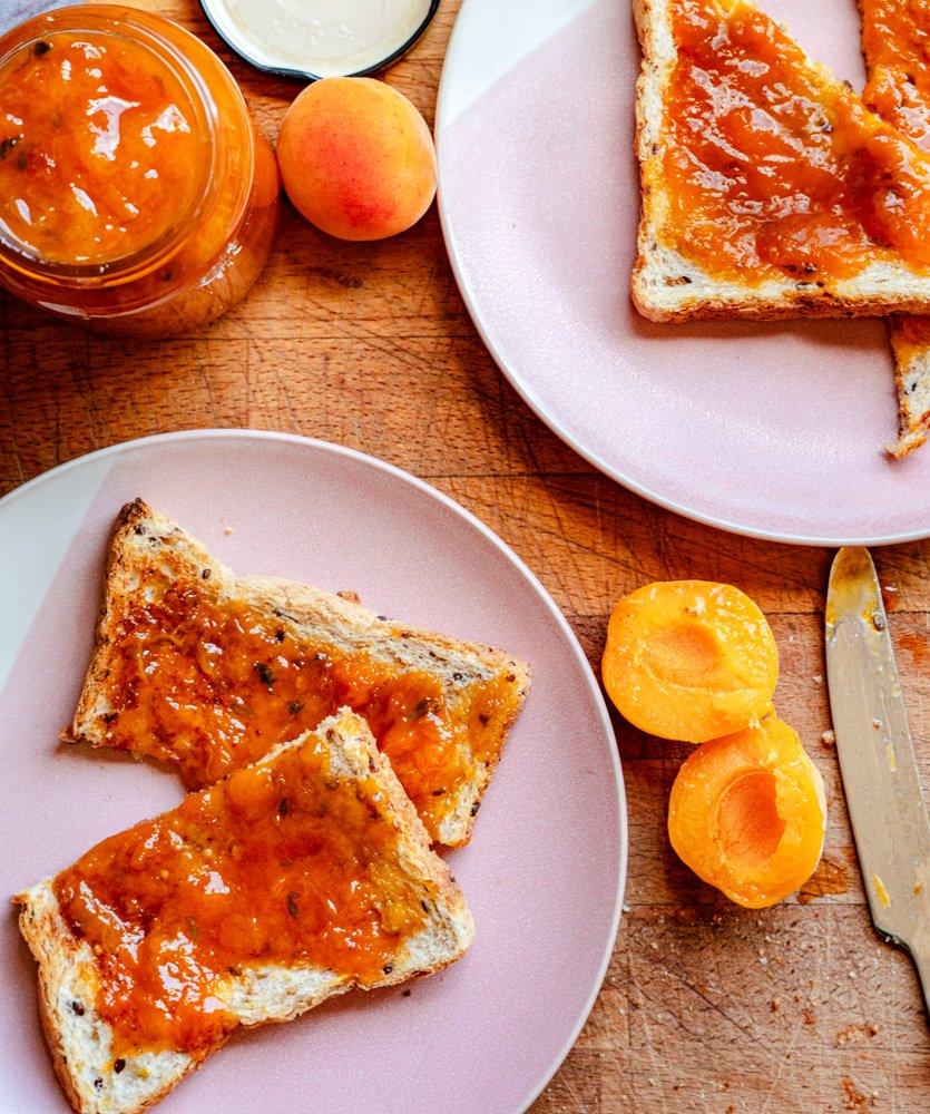 Apricot and lemon thyme jam on toast