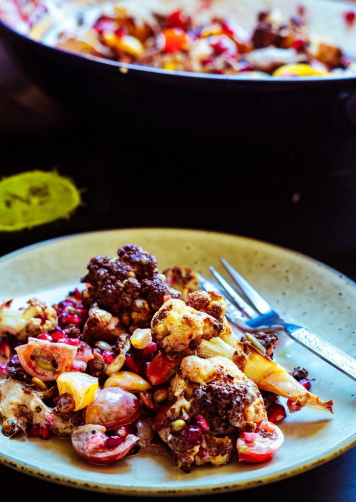 roasted cauliflower salad with yoghurt dressing