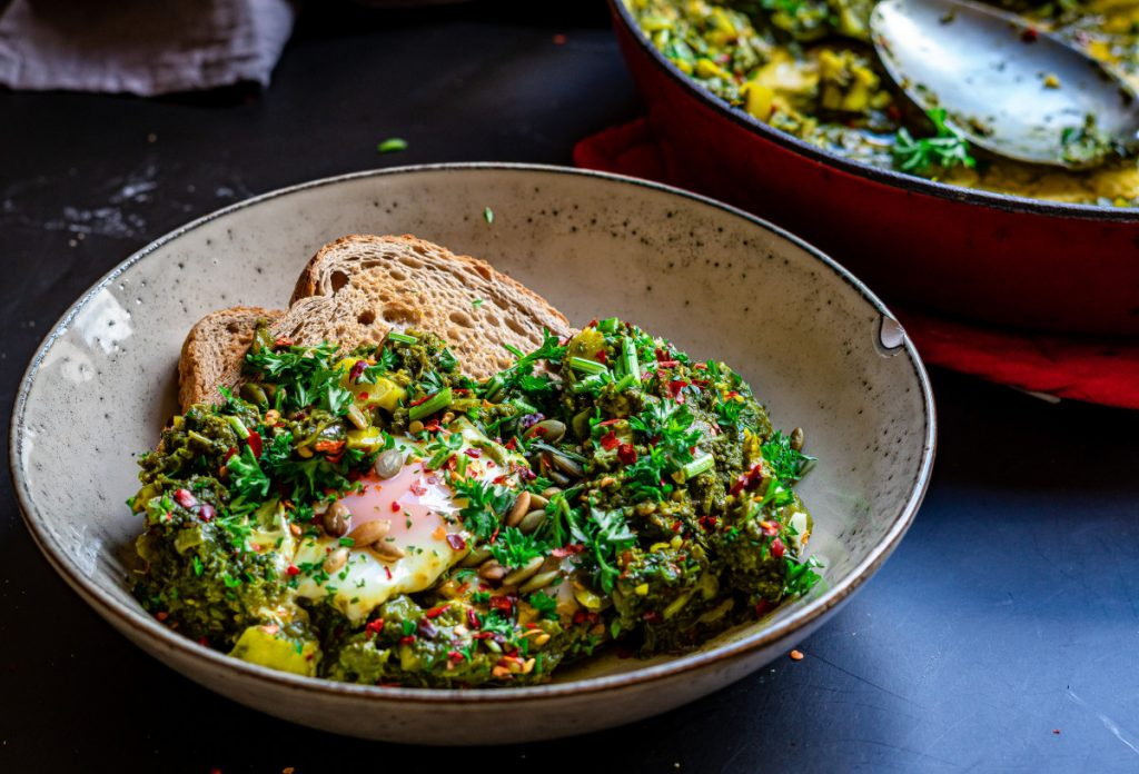 green shahshuka serving